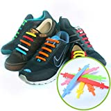 No Tie Laces - Kid Set - Rainbow - Best Elastic Silicone Shoelaces with Special Design to Easy Pull & Lock - Waterproof & Super Easy To Clean