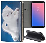 Samsung Galaxy A3 2016 Hülle Smart Flipcover Schutzhülle Case Handyhülle für Samsung Galaxy A3 2016 (1337 Katzenbaby Kätzchen Katze Tier Weiß Blau)