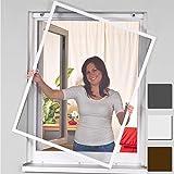 Power-Preise24 Insektenschutz Alu Rahmen für Fenster SmartLINE Fliegengitter Spannrahmen mit Fiberglasgewebe kürzbar Insektenfenster ohne Bohren, Farbe:Weiß, Größe:120 x 140 cm