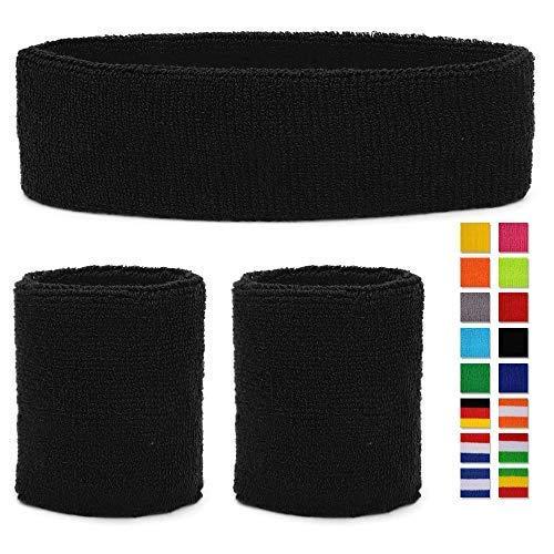 HikBill Schweißbänder Set inkl Sport Stirnband und Handgelenk Schweißbänder für Laufen Fahrrad Joggen Tennis Fußball (Balck New)
