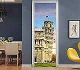 3D Tür Aufkleber PVC Vinyl Wasserdichte schiefen Turm von