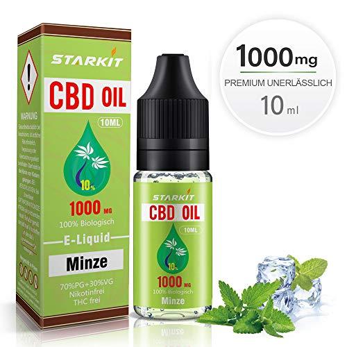 STARKIT® CBD E Liquid 1000mg, Vape Öl 10ml mit 10% Cannabidiol Hanf Öl für E Zigarette Starter Set SMOK E Shisha, PG70/VG30 Eliquid, ohne Nikotin, ohne THC (Minze Geschmack,1000mg)