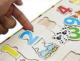 EasY Kid's ToY Holzpuzzle Bunte Zahlen 1-10 mit Tieren, Bestes Holzspielzeug für Spielerisches Lernen von Zahlen Motorikspielzeug ab 2 Jahre Rahmenpuzzle Geschenk für Kinder, Kinderpuzzle für Spiel Spass Freude -