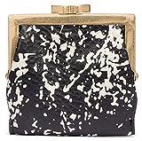 Lulu Guinness Black Leather Splatter Print Frame Purse Multi Leather