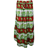 Mogul Interior Womans Long Skirt Elephant On Parade Flowy Tiered Boho Festive Skirts S