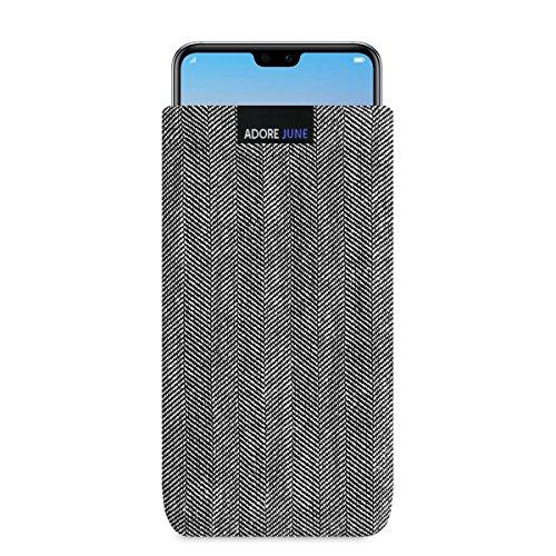 Adore June Business Tasche für Huawei P20 Pro Handytasche aus charakteristischem Fischgrat Stoff - Grau/Schwarz | Schutztasche Zubehör mit Display Reinigungs-Effekt | Made in Europe