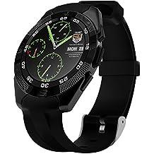 LKM Security - Reloj inteligente SmartWatch con Bluetooth para Android y iOS con función de Pulsómetro, Podómetro, gestión de Apps, toma de selfies, monitorización del sueño, pantalla LCD y táctil muy cómoda–Color Negro
