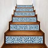 YSFU Wandsticker 6 Stücke Treppen Aufkleber Fliesenmuster Für Zimmer Treppen Dekoration Wohnkultur Boden Treppe Aufkleber