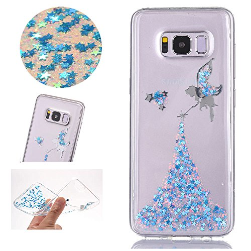 Sycode Coque Galaxy S8,Ultra Mince Luxe Glitter Transparent Beau Bleu Fée Fairy Modèle Silicone Strass Cover pour Samsung Galaxy S8