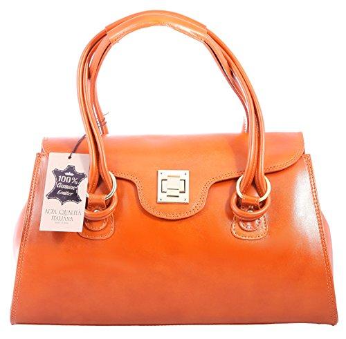 CTM Tasche Frau Hand Klassische, 37x24x17cm, echtes Leder 100% made in Italy Leder