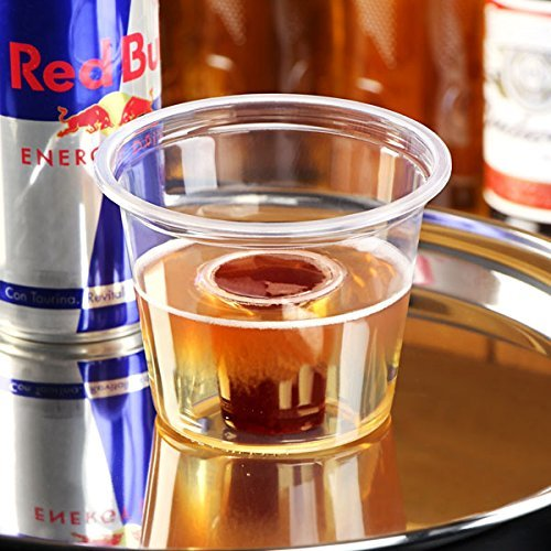 Bomb Shots Clear CE 3oz / 85ml - Sleeve of 50 - 8.5cl Bomb Shot Cups, Bomb Shotz, Polystyrene Shot Cups, Disposable Shot Glasses, Plastic Shot Glasses - 25ml CE Shot with 60ml Chaser - Ideal for Red Bull & Jagermeister Test