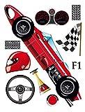 1art1 59532 Kinderwelten - Formel 1 Rennauto Wand-Tattoo Aufkleber Poster-Sticker 65 x 42 cm