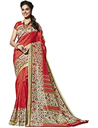 EthnicJunction Women's Cotton Silk Saree With Blouse Piece (Ej1131-3040_Red)