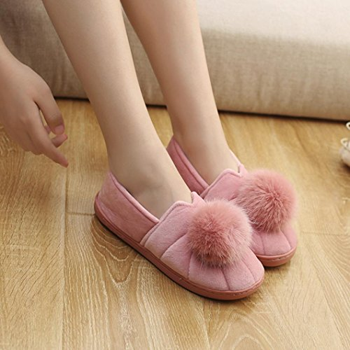Ciabatte in cotone, Longra A tinta unita donne inverno spessore fondo palla Top Home anti-slittamento wrap heel pantofole di cotone, scarpe confinamento Rosa