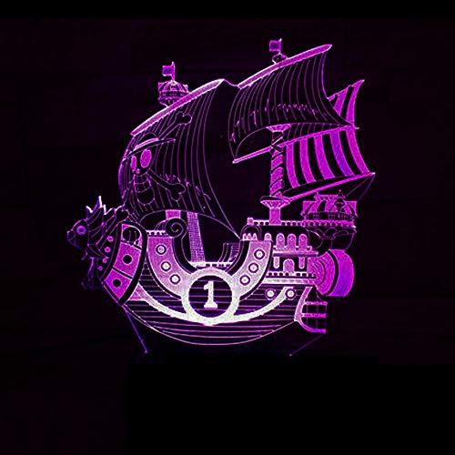 Dwthh Schlafzimmer Nacht Dekor 3D Segeln Meer Schiff Boot Nachtlicht Led Veränderbar Stimmung Leuchtende Usb One Piece Baby Schlaftisch Leuchtende Geschenke