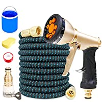 AFAGC Expandable Garden Hose with Solid Brass Connector And 9 Function Spray Nozzle - 50FT(15M),7.5M