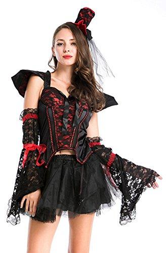 La vogue-donna vampiro vestito cosplay regina abito halloween carnevale massimo busto 90cm nero