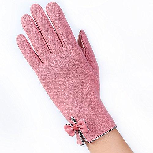 Gants d'hiver pour Femmes Gants de Coton Écran Tactile pour Activités de Plein Air E, Rose