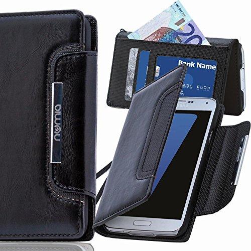 Original Numia Design Luxus Bookstyle Handy Tasche LG L65 / D280N in Schwarz Flip Style Case Cover Gehäuse Etui Bag Schutz Hülle NEU