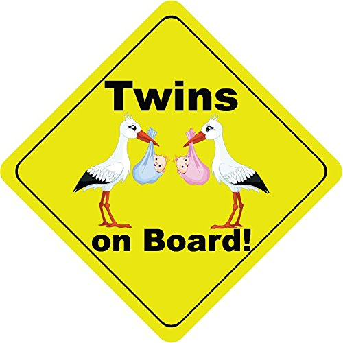 Twins On Board Boy and Girl Stork Cute Funny Baby Hochwertigen Auto-Autoaufkleber 12 x 12 cm