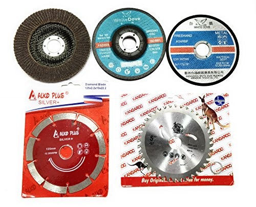 "APS 5 PIECE 125mm 5"" COMBO SAVER SET OF GRINDING WHEEL ANGLE GRINDER DISC CUTTING POLISHING BUFFING WOOD MARBLE STONE GRANITE STEEL METAL PLASTIC"