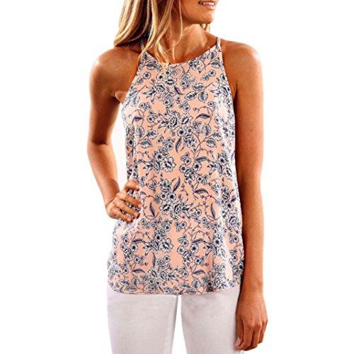 TWBB Damen Mode Sling Blumenmuster ärmellose Weste Tops (S, Rosa) (Brust-kragen Fleece)