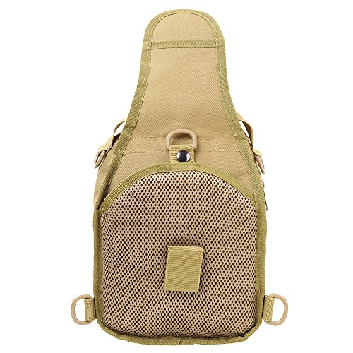 HUKOER Männer Sling Bag Chest Pack Nylon Daypack Outdoor Taktik Rucksack Herren Schultertaschen multifunktionale Brusttasche Umhängetasche Khaki