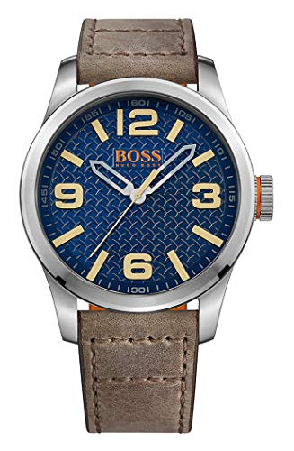 Hugo Boss Orange Paris Herren-Armbanduhr Quartz mit braunem Leder Armband 1513352