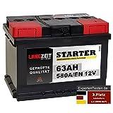 LANGZEIT Starter Serie 12V 44Ah - 105Ah Autobatterie Starterbatterie, KFZ PKW Batterie (63Ah)