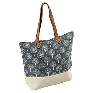 LAFIORE24Quality Ladies Shopper Beach Bag Swim Bag Satchel Messenger Bag With Tree Print and Zip Fastener, beige / blue, Länge 45cm Breite 12cm Höhe 38cm/63cm
