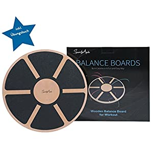 SportyAnis® Premium Balance-Board Holz inkl. Übungsbuch und optional Unterlegmatte, Durchmesser 40 cm – Therapiekreisel für Physiotherapie zur Stärkung der Tiefenmuskulatur