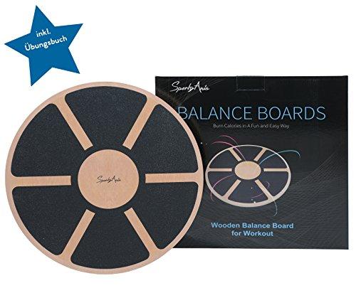 SportyAnis Balance-Board Holz inkl. Übungsbuch Wackel-Brett Therapie-Kreisel Balance-Brett Stabilisationstrainer Stabilitätstrainer Gleichgewichtsboard Physiotherapie Balance-Pad Gymnastik