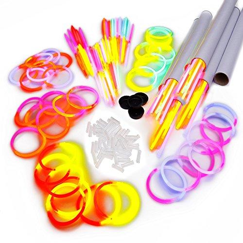 150 zweifarbige Knicklichter (bicolor) inkl. 150 x 2D-Verbinder im 5-Farbmix in getesteter Profiqualität