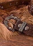 Battle-Merchant Ledergürtel mit Schnalle und Prägung in keltischem Muster, braun - LARP Gürtel aus Leder
