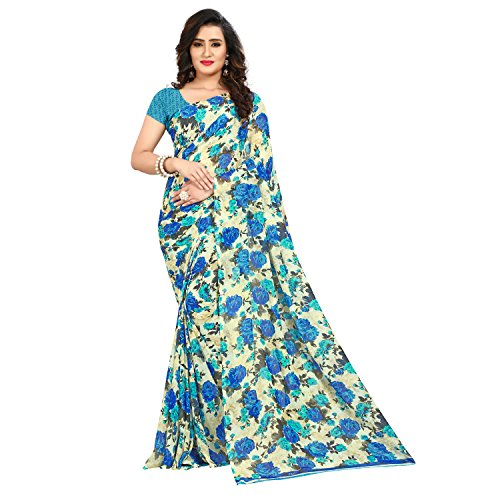Anand Sarees Faux Georgette Printed Blue Color With blouse Piece (1437_2)