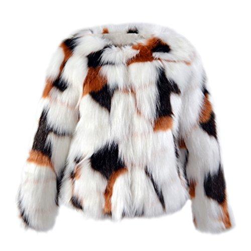 Yuandian donna autunno e inverno casuale colore misto corto giubbino pelliccia sintetica caldo morbido elegante giacca a pellicce faux finta corta cappotto giallo+nero+bianco s