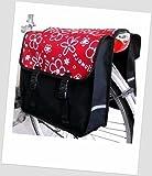 NOVELY TJ-C-25 Fahrradtasche Fietstas JENNY CLASSIC Flower-Red 2 Satteltasche Gepäckträgertasche 2 x 14 Liter