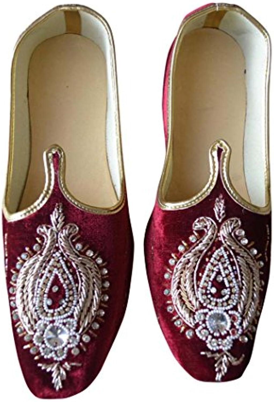 INMONARCH Diseñador de Terciopelo Granate Hombres Zapatos de Boda MJ0186
