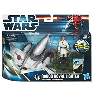 STAR WARS EPISODE 1 - MOVIE HEROES : VEHICULE CLASS I - DELUXE NABOO ROYAL FIGHTER WITH OBI-WAN KENOBI