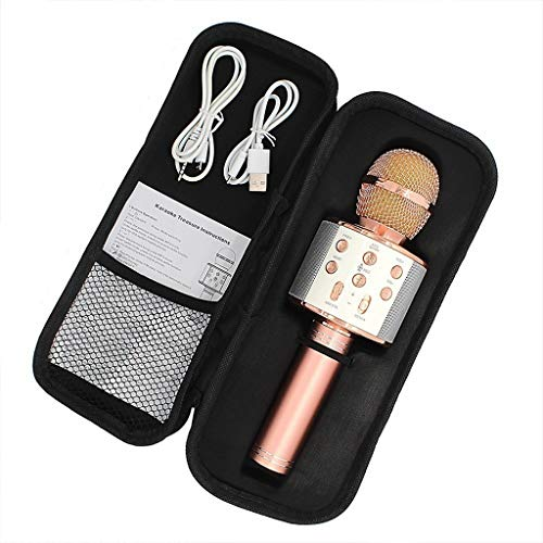 WJDASM Mikrofon 858 karaoke mikrofon drahtlose lautsprecher bluetooth mikrofon für computer telefon aufnahme youtube home karaoke mic, Rose Gold -
