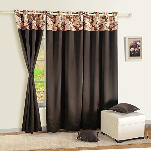 Rod 108 Fenster-vorhang (Shalinindia Halb blickdicht Polyester Vorhang Panels für Türen und Fenster mit Ösen Indian Home Décor–Schokolade, Polyester, schokoladenbraun, Standard)