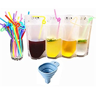 ANTFEES 50 PCS Disposable Drink Container Set for Outdoor Sport Hiking,Reclosable Zipper Stand-up Plastic Pouches Bags For Cold & Hot Drinking with Straws & Funnel