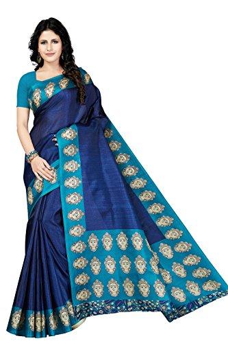 Rani Saahiba Art Silk Kalamkari Bhagalpuri Printed Saree ( SKR3737_Blue )