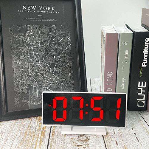 Digitale Wecker,Digital Wecker,Wecker Mit,Spiegel-Uhr-Elektronischer Uhr-Nachtwecker-Spiegel Mit Temperatur-Weißem Rahmen-Rotem Licht