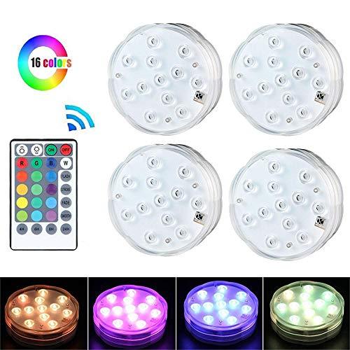 KOBWA LED-Lichter, tauchbar, bunt, batteriebetrieben, mit Fernbedienung, Kleine Lampen, dekorative Fischschüssel-Lichter, Fernbedienung, für Partys, Vasen, Weihnachten, Aquarium, 4 Stück