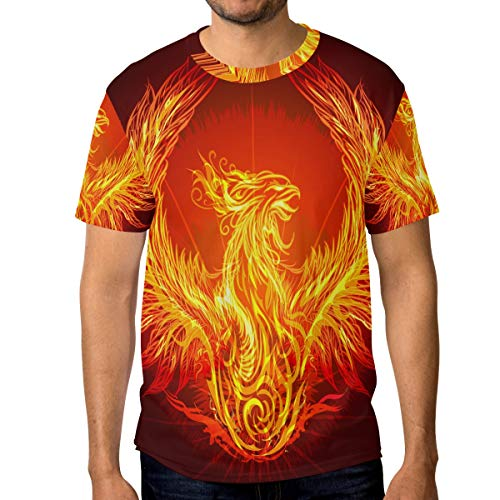 T-Shirt für Männer Jungen Fantasy Fire Phoenix Custom Short Sleeve -