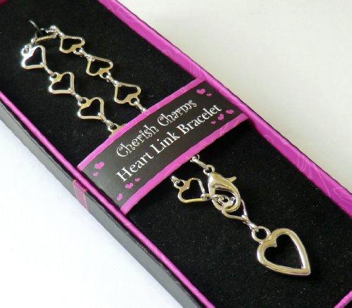Mainly Metal rhodium Bracelet à breloques Cœur (liens) – (L'Air mieux que Argent.) – idéal pour suspendre Notre Cœur Charms on.