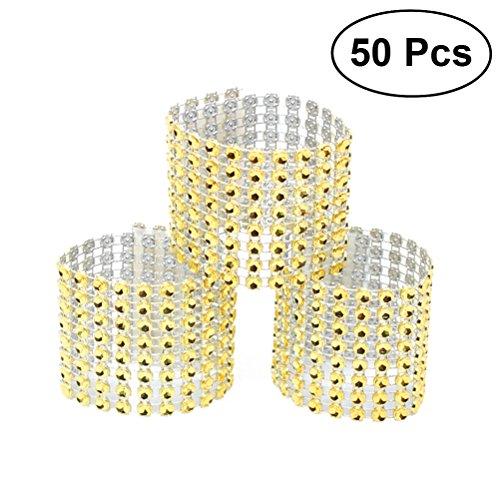BESTOYARD 50Strass Serviette Ringe Diamant Dekoration für Hochzeit Geburtstag Party Bankett Empfang (Gold)