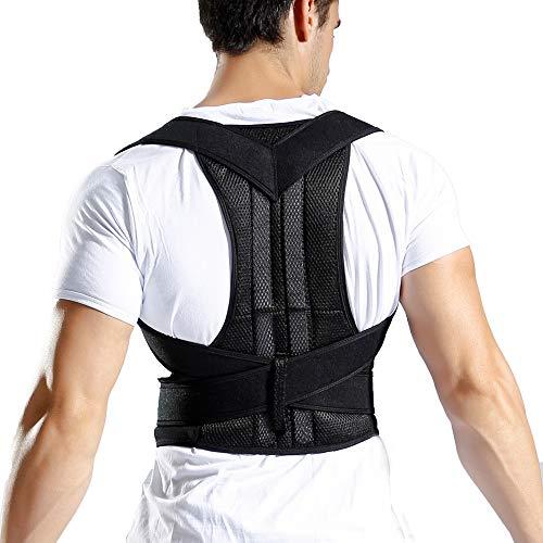 TIREOW Verstellbare Rückenhaltung Schulter Korrektor Gürtel Nacken Rücken Schulterschmerzen Therapie Haltungskorrektur Geradehalter Für Männer Frauen ((Typ D) M)