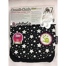 Forro de espuma viscoelástica reversible para cochecito de Comfi-Cush, color negro con diseño de estrellas blancas